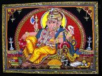 Amazing India Lord Ganesha / Ganpati / Ganesh Sequin Cotton Wall Hanging AISBM008 God Tapestry(Multicolor)