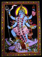 Amazing India Goddess Kali Tapestry Sequin Cotton Wall Hanging AISBM014 Goddess Tapestry(Multicolor)