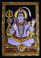 Amazing India Lord Shiva Sequin Cotton Wall Hanging AISBM011 God Tapestry(Multicolor)
