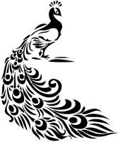 Smilendeal T2141 Peacock Temp Body Tattoo - Black(Peacock)