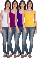 17.Hills Casual Sleeveless Solid Women's Multicolor Top(Size: L)