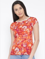 U&F Casual Short Sleeve Graphic Print Womens Orange, Pink, Red, White Top