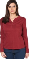 Espresso Casual Full Sleeve Solid Women's Red Top