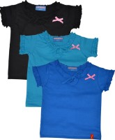 Clever Girls Casual Cotton Top(Blue, Pack of 3)