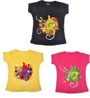 Perky Girls Casual Cotton Top(Multicolor, Pack of 3)