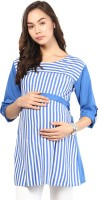 Mine4Nine Casual Roll-up Sleeve Striped Women's Blue Top