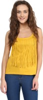 Miss Chase Casual Sleeveless Solid Women's Yellow Top