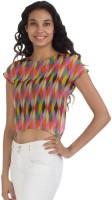 Vea Kupia Casual Cap Sleeve Printed Women's Multicolor Top