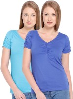 Espresso Casual Short Sleeve Solid Womens Blue Top