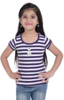 Triki Girls Casual Cotton Top(Purple, Pack of 1)