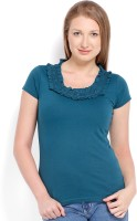 Espresso Casual Short Sleeve Solid Women's Blue Top