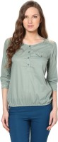 Harpa Casual 3/4th Sleeve Solid Women's Green Top
