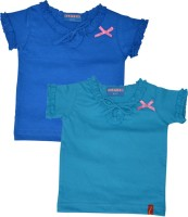 Clever Girls Casual Cotton Blend Top(Light Blue, Pack of 2)