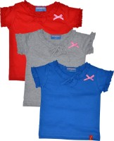 Clever Girls Casual Cotton Top(Multicolor, Pack of 3)