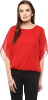 Athena Party Short Sleeve Solid Women's Red Top
