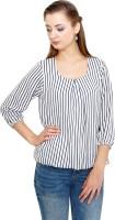 Kooo Casual 3/4th Sleeve Striped Womens White Top