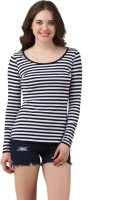 Texco Casual Full Sleeve Striped Womens Black, White Top