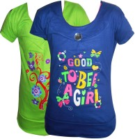 Cute Raskals Casual Cotton Top(Green, Pack of 2)