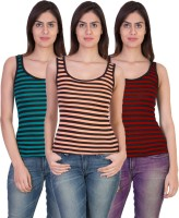 17.Hills Casual Sleeveless Striped Women's Multicolor Top(Size: M)