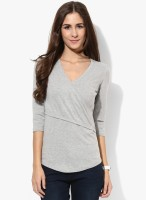 Espresso Casual 3/4th Sleeve Solid Womens Grey Top