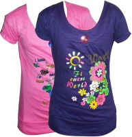 Cute Raskals Girls Casual Cotton Top(Pink, Pack of 2)