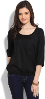 W Casual 3/4th Sleeve Solid Women's Black Top