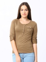 Espresso Casual Full Sleeve Solid Womens Beige Top