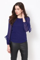 Harpa Casual Full Sleeve Solid Women's Blue Top