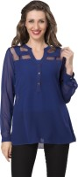 Ishin Designer Studio Party Full Sleeve Solid Women's Blue Top