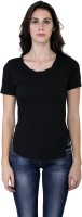 Espresso Casual Short Sleeve Solid Womens Black Top
