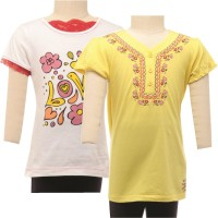 JusCubs Girls Casual Cotton Top(Multicolor, Pack of 2)