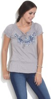 Espresso Casual Short Sleeve Embroidered Womens Grey Top