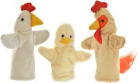 Cuddly Toys Domestic Birds- Hen, Rooster & Chick Family Hand Puppet Hand Puppets(Pack of 3)