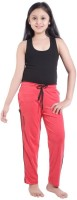 Red Ring Track Pant For Girls(Red)