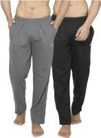 Alan Jones Solid Men's Black, Grey Track Pants