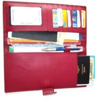 Star Leather Passport & Cheque book holder(Red)