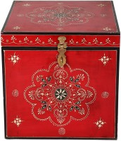 View Rajrang Floral traditional trunk box Solid Wood Trunk(Finish and Fabric Color - White) Furniture