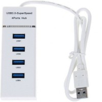 VU4 High Speed 4 Port 3.0 USB Hub Laptop Accessory(White)