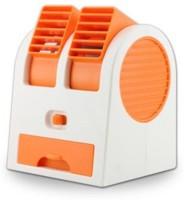 NewveZ Portable Mini Air Conditioner Dual-Port Bladeless USB Fan(Orange, White)