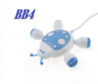 BB4 MULTIPURPOSE 4 PORT Ladybug Shaped Wired USB 2.0 Adapter SPLITTER CABLE USB Hub(WHITE & BLUE)