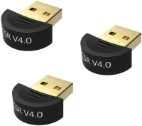 View RoQ Sets Of 3 Mini USB CSR 2.0 Dongle Dual Mode Wireless Adapter 4.0 Bluetooth(Black) Laptop Accessories Price Online(ROQ)