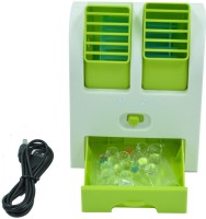 View Quit-X VBX-01 ® Adjustable Dual Air Outlet Mini Electric Air Conditioning Portable Cooler USB Fan(Green) Laptop Accessories Price Online(Quit-X)