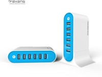 View Fshang 6 Port Universal Connector 7005 USB Hub(Blue) Laptop Accessories Price Online(Fshang)