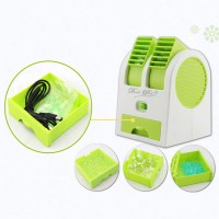 VibeX VBX-01 ® Mini Small Cooling Portable Desktop Dual Bladeless Air Conditioner USB Fan(Green)