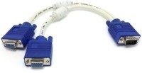 TECHGEAR VGA SVGA Male To 2 VGA Hdb15 Female Splitter Adapter Extension Cable Laptop Accessory(Blue)