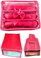Atorakushon Combo Satin 3 Rods Bangle box Jewellery Box Saree & Blouse Cover Storage Case Vanity Box(Pink)
