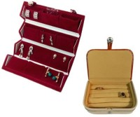 Abhinidi Pack of 2 Ear Ring Folder Ring case Travelling Pouch Box Vanity Box(Red,Brown)