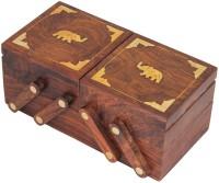 Craftsman Multipurpose Sliding 3 in 1 Wooden Perfect Gift for Anniversary, Wedding, Birthday Vanity Box(Brown)