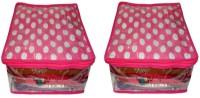 Atorakushon 2pc Saree Salwar Suit Dress Protection Cover Garment Pouch Organiser Box Bag Storage Case Vanity Box(Pink)