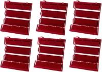 Atorakushon 6 Medium Earring Nosepin Folder Jewellery Box Traveling Organiser Pouch Storage Case Vanity Box(Red)